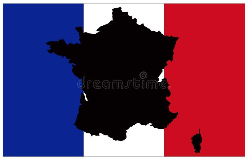 Francja mapa i flaga - kraj w zachodniej europie ilustracja wektor