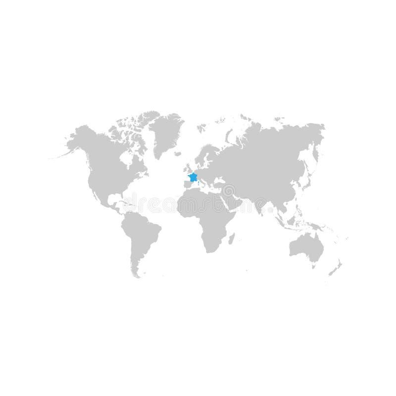 Francja mapa podkreśla w błękicie na światowej mapie ilustracji