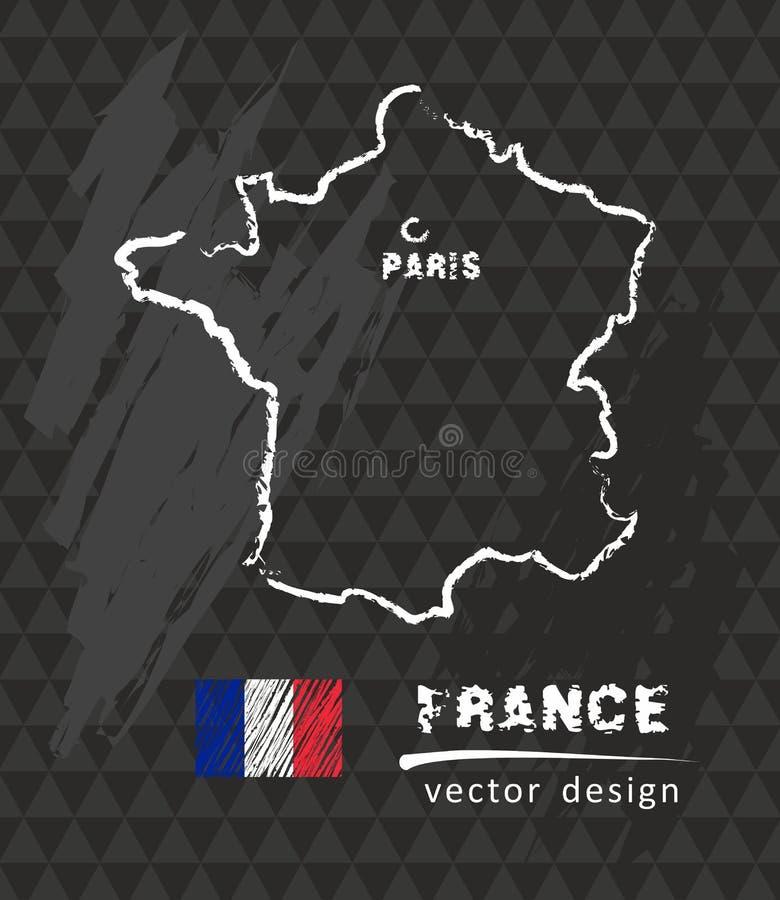 Francja mapa, wektorowy rysunek na blackboard ilustracja wektor