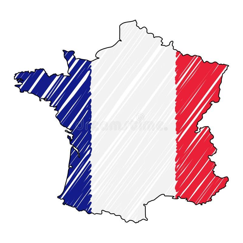 Francja mapy ręka rysujący nakreślenie Wektorowa poj?cie ilustracji flaga, dziecko rysunek, skrobaniny mapa Kraj mapa dla ilustracja wektor