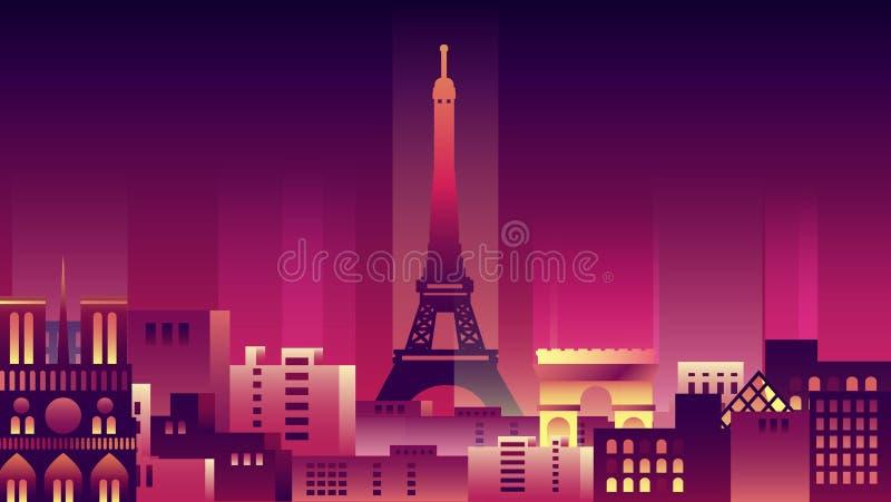Francja miasta nocy architektury neonowych stylowych budynków kraju grodzka podróż ilustracja wektor