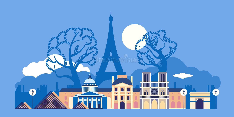 Francja miasto Paryż Architektura miasto royalty ilustracja