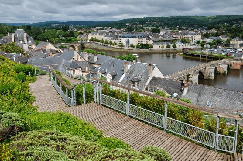 Francja, miasto Terrasson Lavilledieu w Dordogne fotografia stock