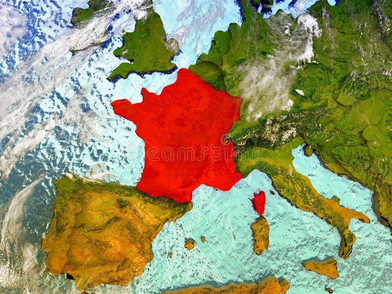 Francja na obrazkowej kuli ziemskiej royalty ilustracja