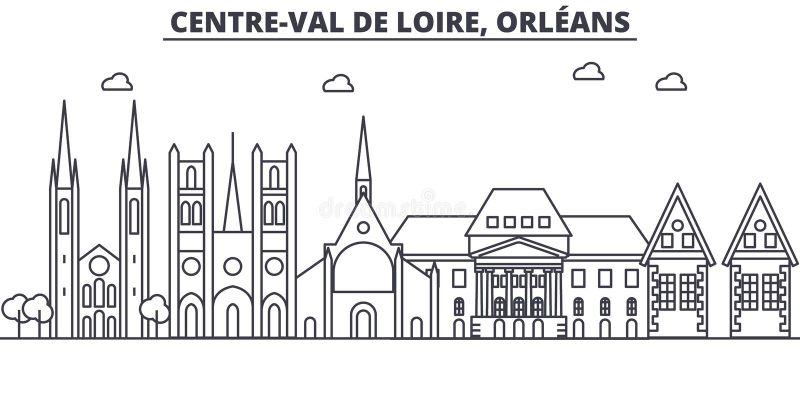 Francja, Orleans architektury linii linii horyzontu ilustracja Liniowy wektorowy pejzaż miejski z sławnymi punktami zwrotnymi, mi ilustracja wektor