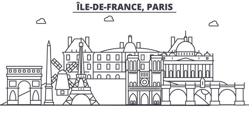 Francja, Paryska architektury linii linii horyzontu ilustracja Liniowy wektorowy pejzaż miejski z sławnymi punktami zwrotnymi, mi royalty ilustracja