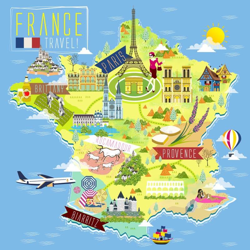 Francja podróży mapa royalty ilustracja