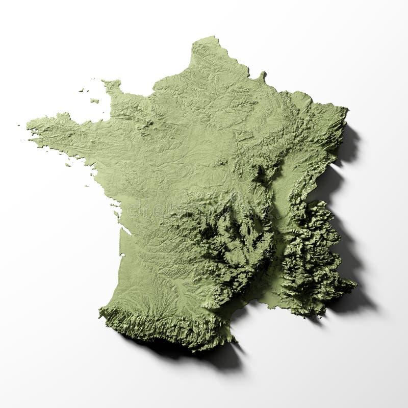 Francja reliefowa mapa ilustracji