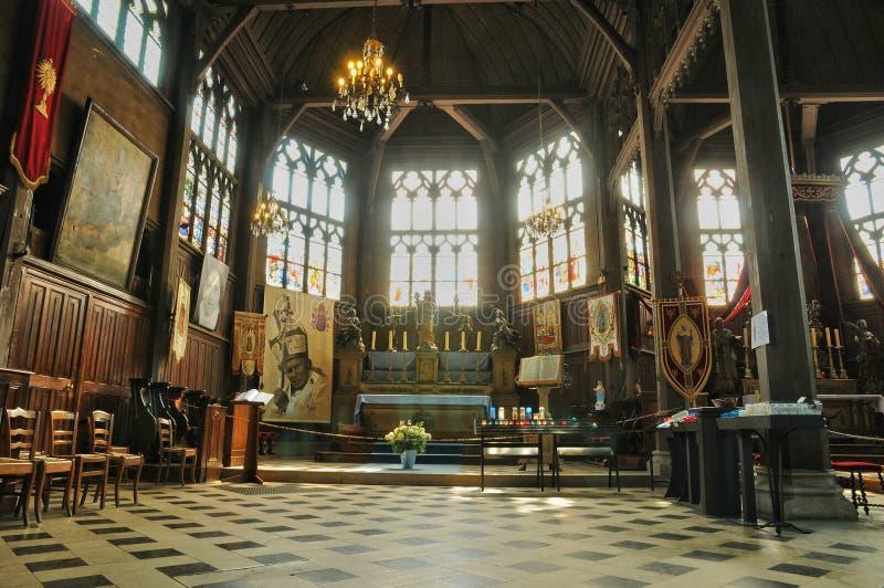 Francja, Sainte Catherine Honfleur w Normandy kościół zdjęcia royalty free