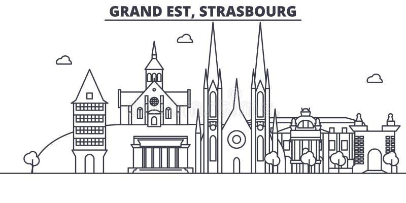 Francja, Strasburska architektury linii linii horyzontu ilustracja Liniowy wektorowy pejzaż miejski z sławnymi punktami zwrotnymi ilustracja wektor