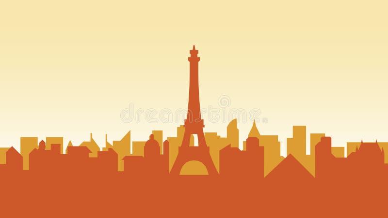 Francja sylwetki architektury budynków miasta kraju grodzka podróż royalty ilustracja