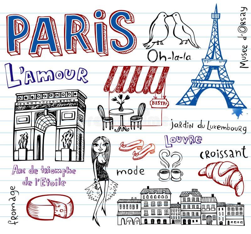 Francja symbole jak ostrych doodles ilustracji