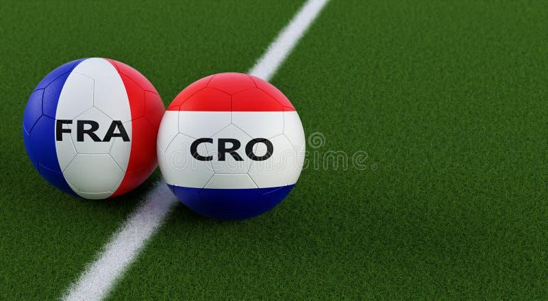 Francja vs Chorwacja mecz piłkarski - piłek nożnych piłki w Francja i Chorwacja krajowych kolorach na boisko do piłki nożnej ilustracja wektor