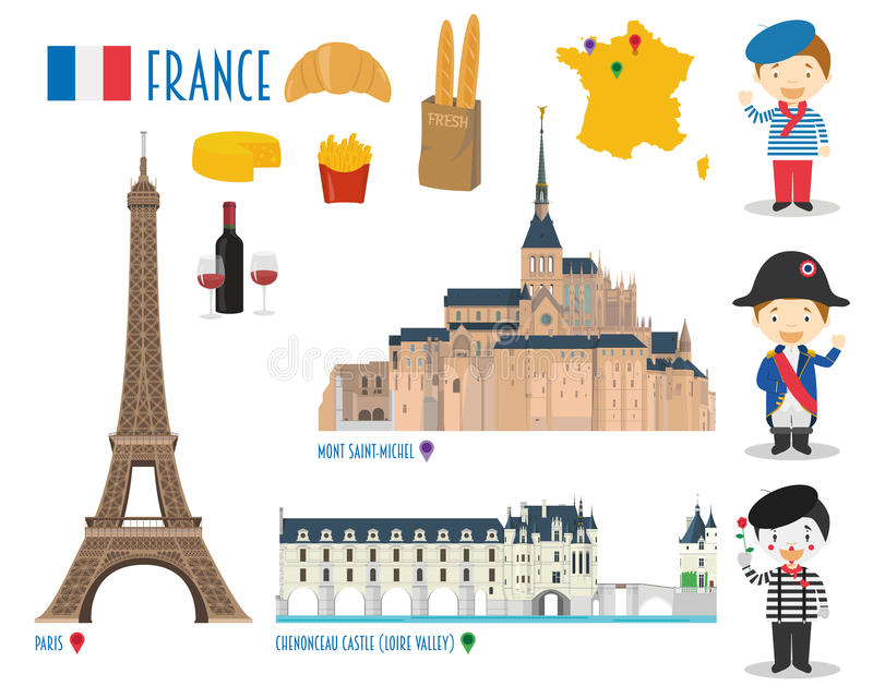 Francja Wektorowej ikony Ustalona podróż i turystyki pojęcie ilustracja wektor