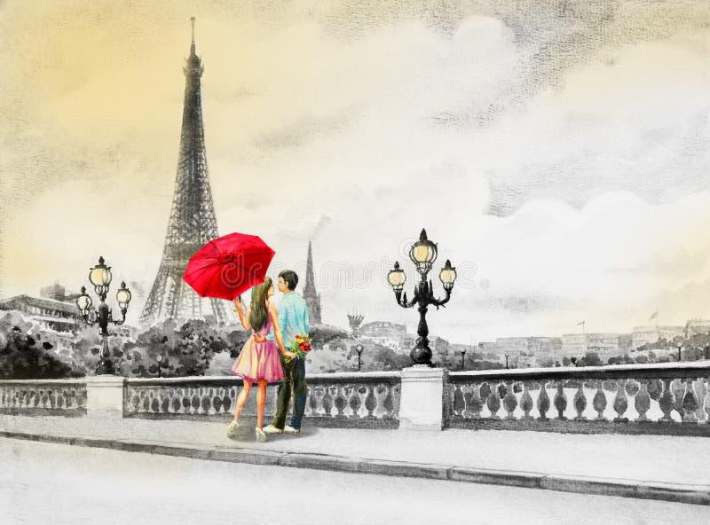 Francja, wieży eifla i pary młode chłopiec, kobieta royalty ilustracja
