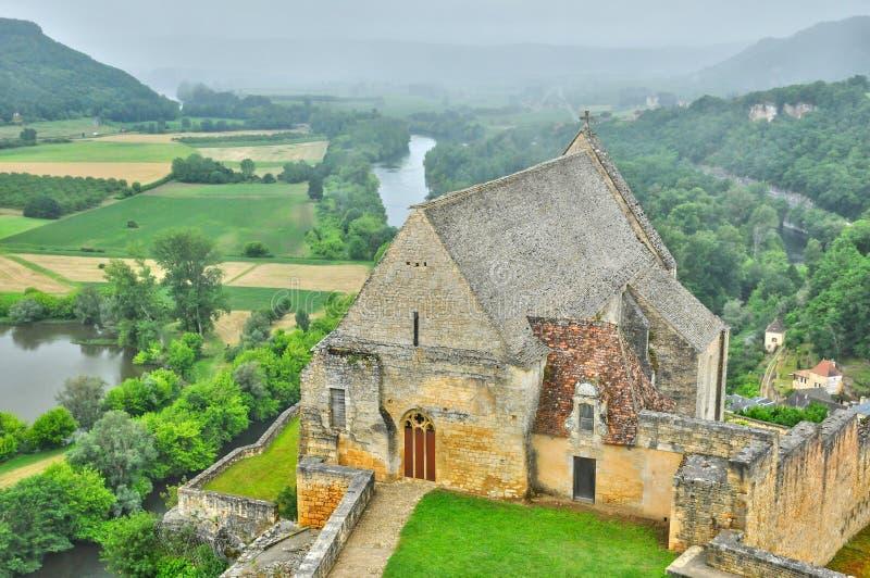 Francja, wieka średniego Beynac w Dordogne kasztel obraz stock