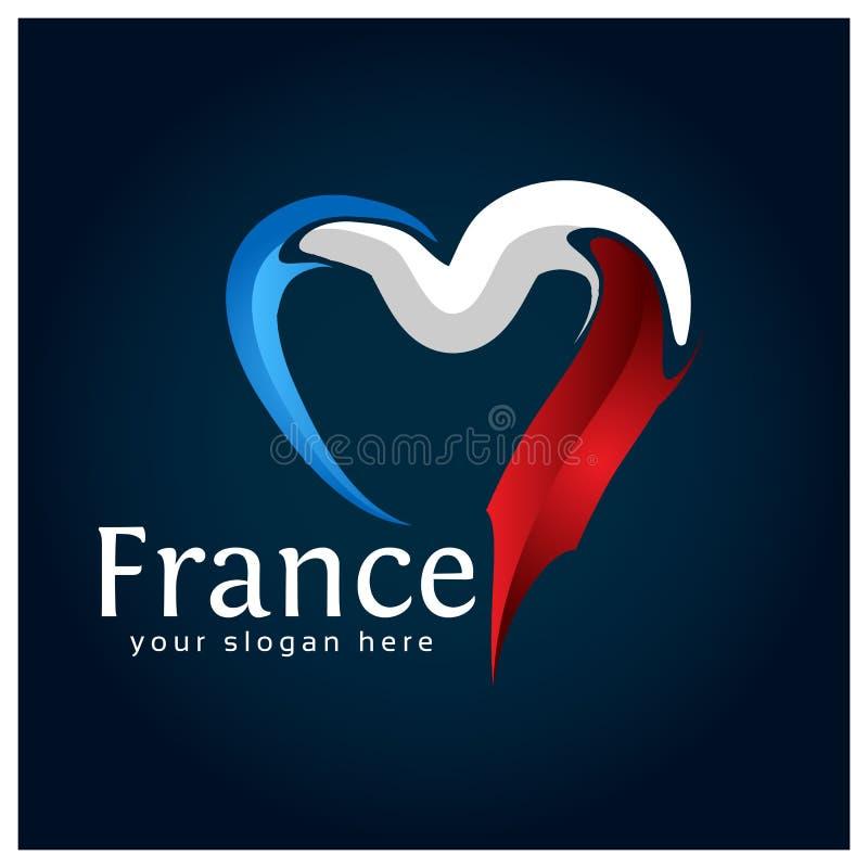 Francja zaznacza serce akcyjnego wektor na błękitnym gradientowym tle również zwrócić corel ilustracji wektora ilustracja wektor