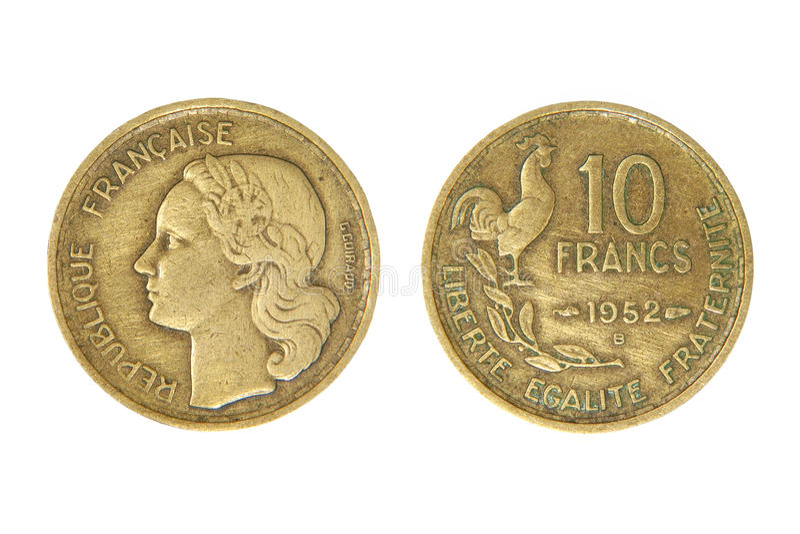 Franco francês velho da unidade monetária. foto de stock royalty free