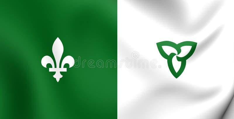 Franco-Ontarian Flag. Franco-Ontarian 3D Flag. Ontario, Canada. Close Up royalty free illustration