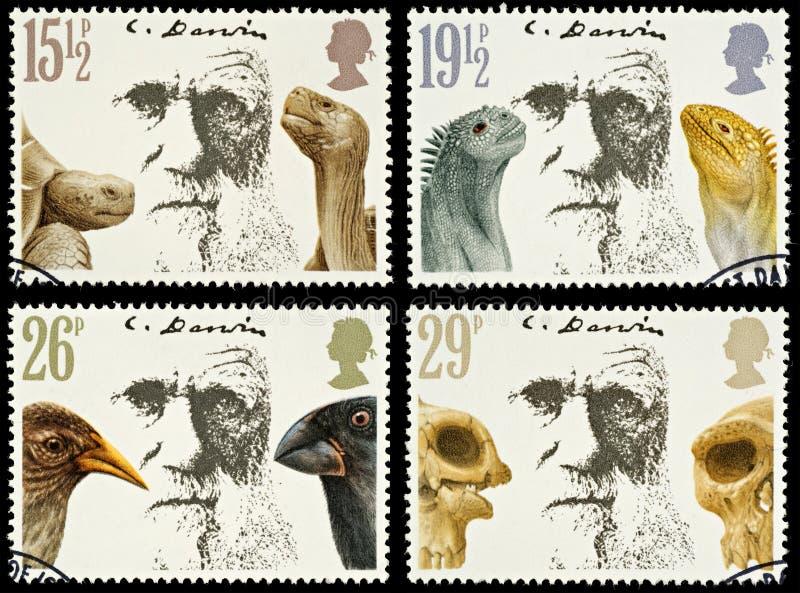Francobolli della Gran-Bretagna Charles Darwin fotografia stock libera da diritti
