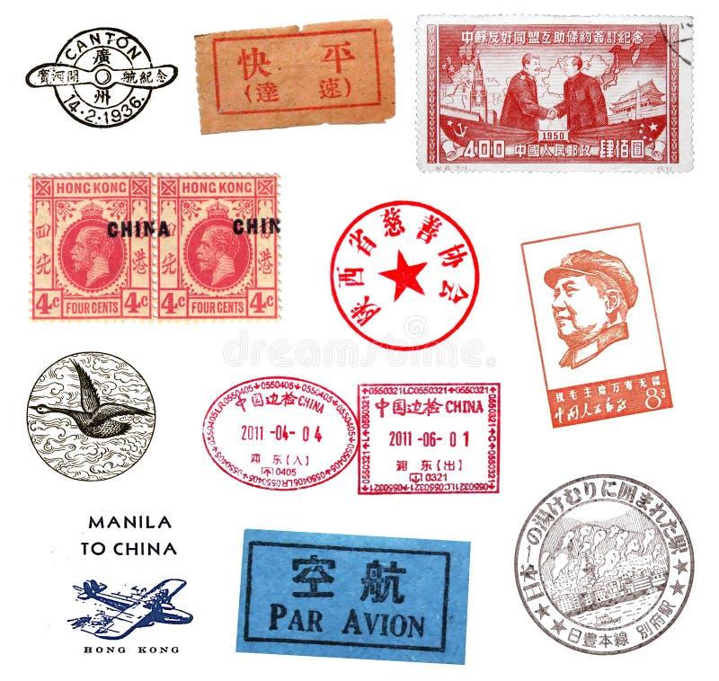 Francobolli ed etichette dalla Cina immagini stock