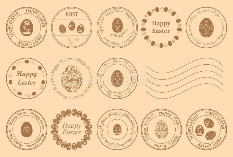 Francobolli rotondi con le uova decorative per la festa di pasqua - elementi di progettazione di vettore royalty illustrazione gratis