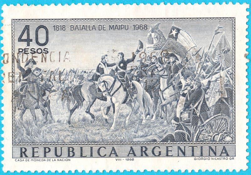 Francobollo annullato che descrive battaglia di Maipu vicino a Santiago, Cile il 5 aprile 1818 fra i ribelli sudamericani e la r  fotografia stock libera da diritti