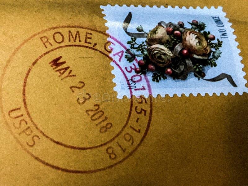 Francobollo annullato da Roma, Georgia fotografia stock