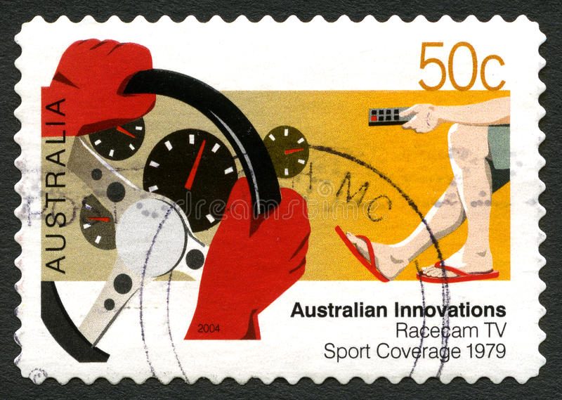 Francobollo australiano di copertura di sport di Racecam TV immagine stock libera da diritti