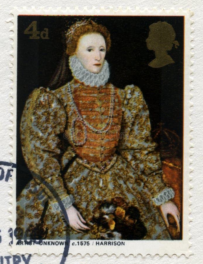 Francobollo britannico che caratterizza un ritratto della regina Elisabetta I immagine stock