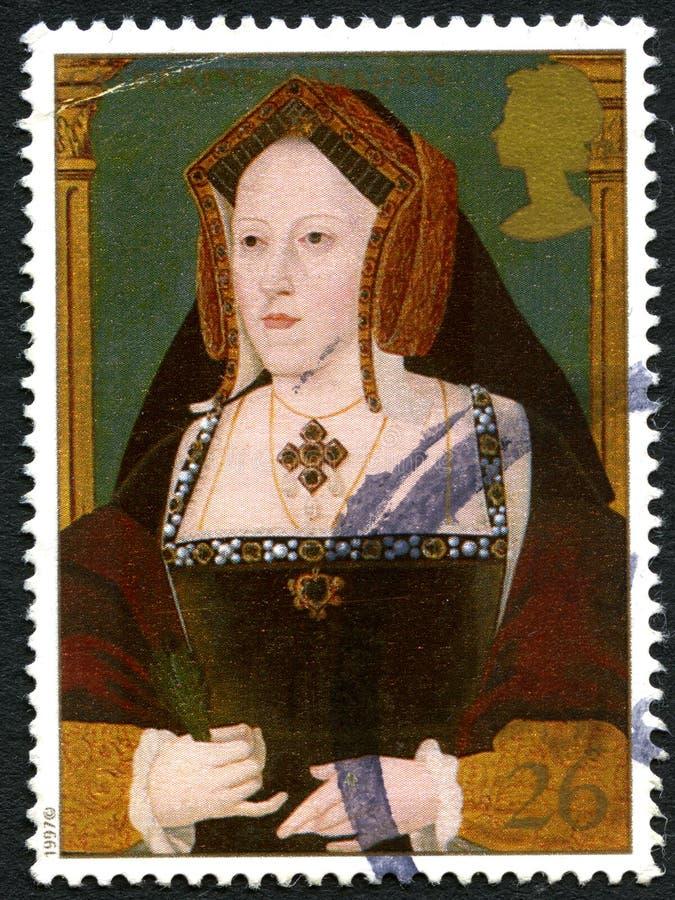 Francobollo BRITANNICO di Caterina d'Aragona immagine stock