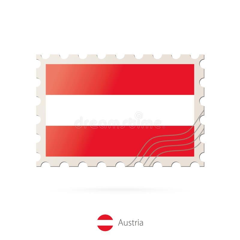 Francobollo con l'immagine della bandiera dell'Austria royalty illustrazione gratis