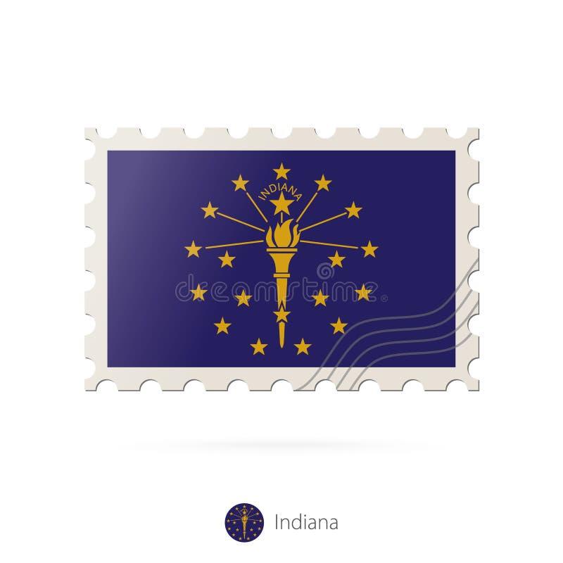 Francobollo con l'immagine della bandiera dello stato dell'Indiana illustrazione vettoriale