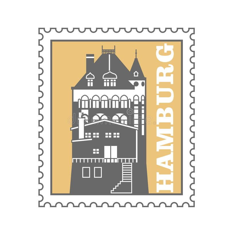Francobollo della città di Amburgo - magazzino del porto, emblema dello speicherstadt illustrazione vettoriale