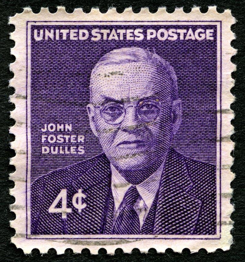 Francobollo di John Foster Dulles Stati Uniti fotografia stock