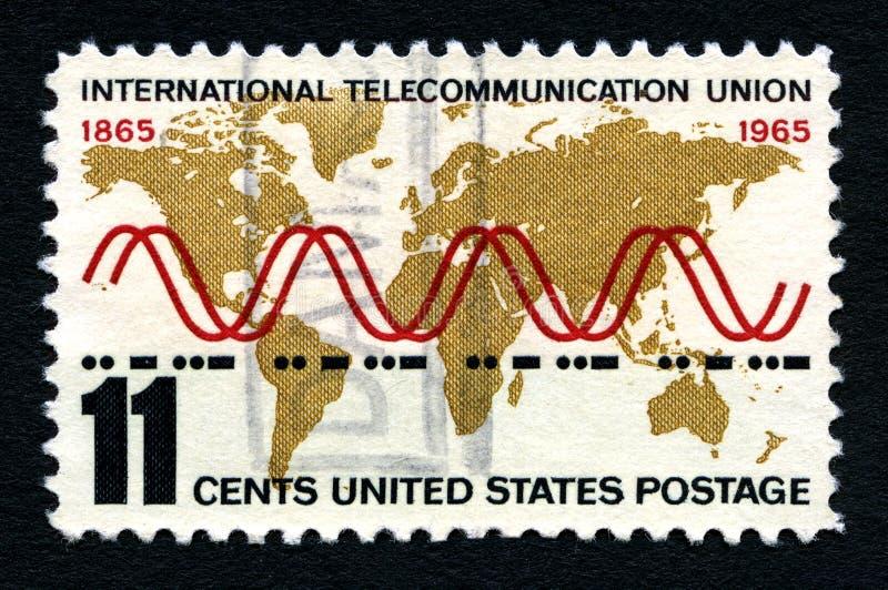 Francobollo internazionale degli Stati Uniti del sindacato delle Telecomunicazioni fotografie stock