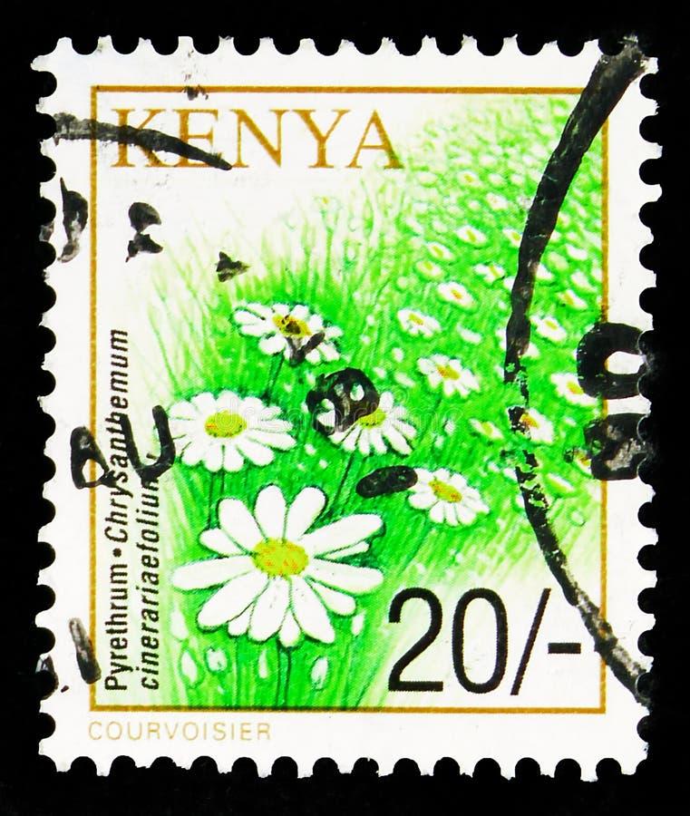 francobollo pubblicato in Kenya mostra Pyrethrum, Crops Series, 20 scellino keniano, circa 20 scellini, 2001 immagini stock libere da diritti