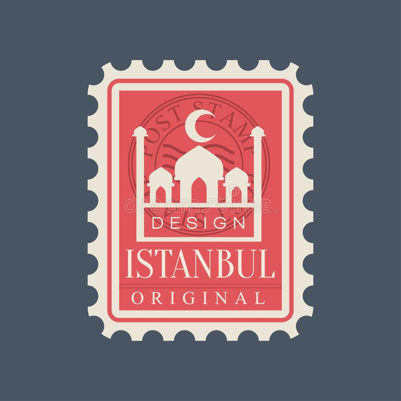 Francobollo rettangolare della città di Costantinopoli con la siluetta blu della moschea Simbolo con il punto di riferimento turc illustrazione di stock