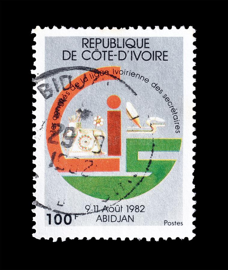 Francobollo stampato da Costa d'Avorio fotografia stock libera da diritti
