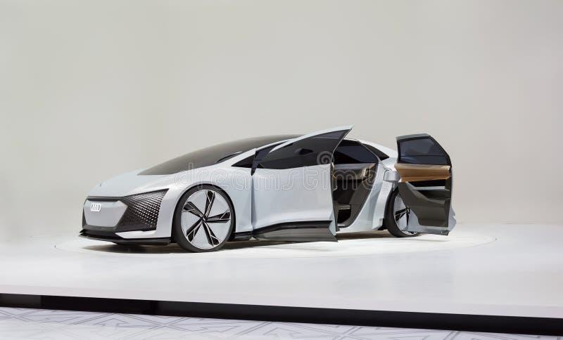 FRANCOFORTE, GERMANIA - 17 SETTEMBRE 2017: Automobile autonoma di concetto di Audi Aicon al salone dell'automobile di IAA Francof immagini stock