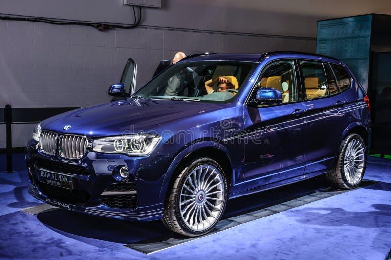 FRANCOFORTE - SEPT 2015: BMW Alpina XD3 Biturbo apresentou-me em IAA foto de stock royalty free