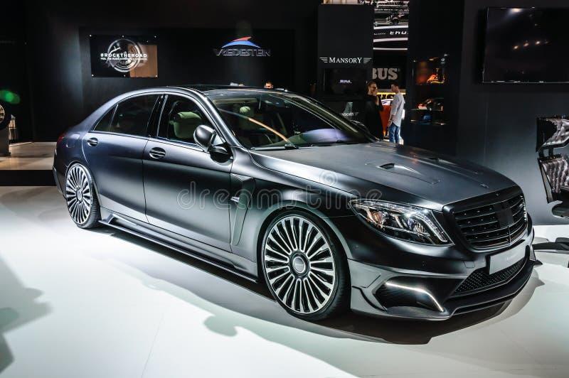 FRANCOFORTE - SEPT 2015: Classe AM de Mercedes S da EDIÇÃO do PRETO de MANSORY fotografia de stock royalty free