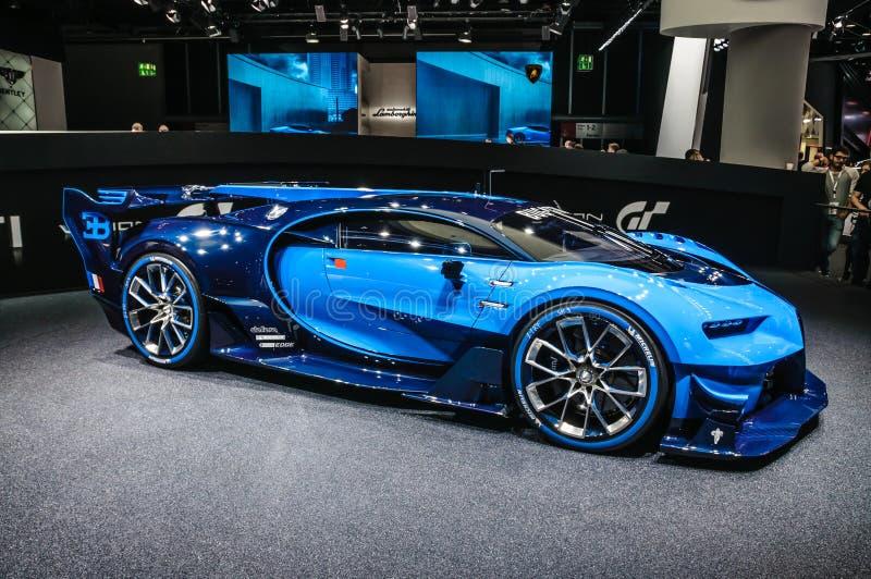 FRANCOFORTE - SETTEMBRE DEL 2015: La visione Gran Turismo di Bugatti Chiron ha presentato al motore dell'internazionale di IAA fotografie stock libere da diritti