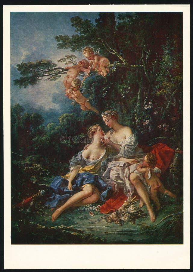 Francois Boucher Jupiter och Callisto arkivbild