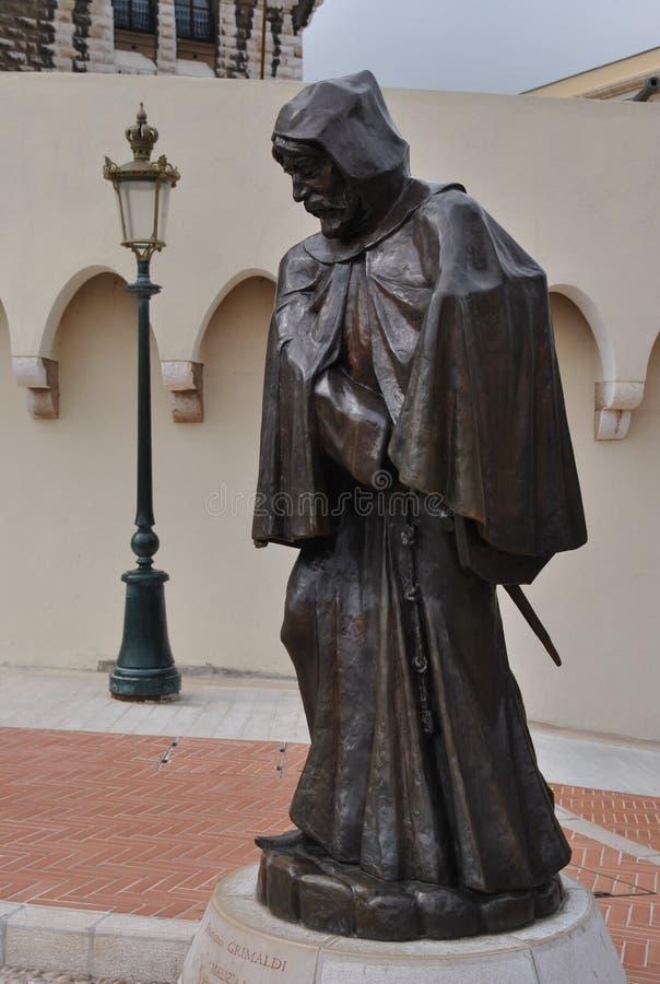 Francois Grimaldi-standbeeld voor de Prins Palace in Monaco stock foto's