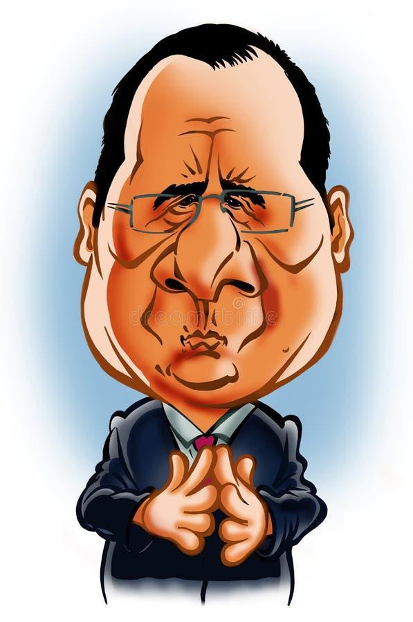 Francois Hollande-karikatuur stock foto