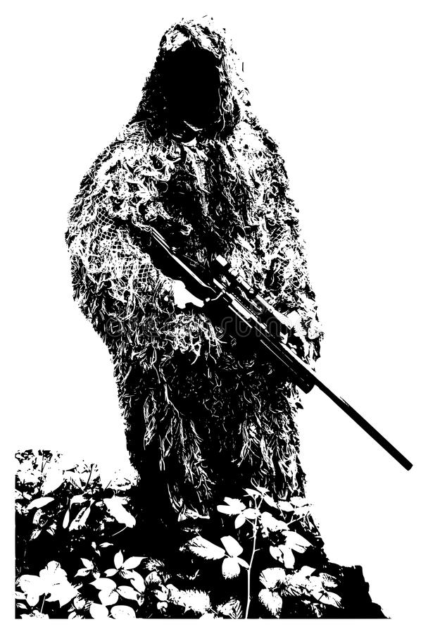 Francotirador con el traje del camuflaje fotos de archivo libres de regalías