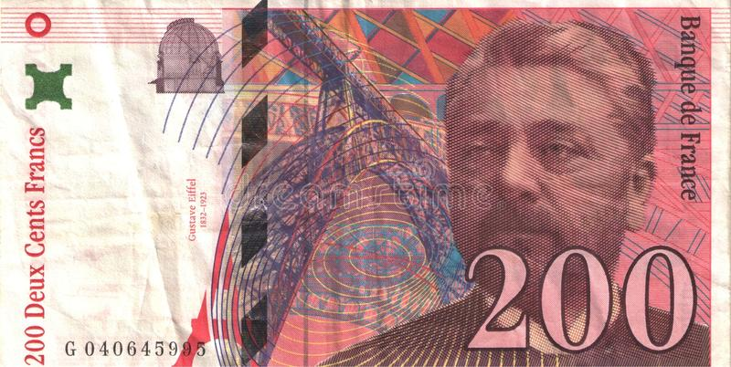 Gustave Eiffel - Banknote. Historical note in nominal value of 200 francs. Currency in France before the euro. For banknotes shown Gustave Eiffel stock photos