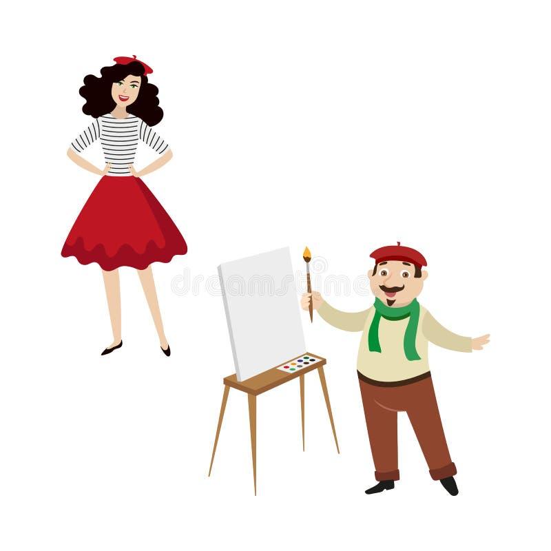 Francuscy charaktery, śmieszny artysta i mody dziewczyna, ilustracja wektor