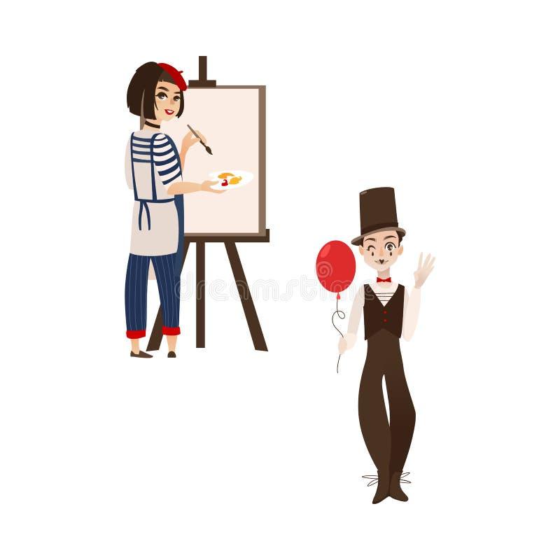 Francuscy charaktery, typowy artysta i mim, ilustracja wektor